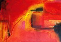 Acrylmalerei, Rot, Pink, Gelb