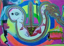 Acryl auf leinwand, Neon, Malerei
