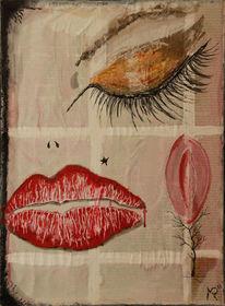Augen, Lippenstift, Pflaume, Kussmund