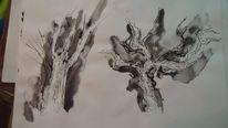 Tusche, Baum, Skizze, Zeichnung