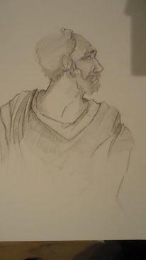 Bleistiftzeichnung, Mann, Kopf, Zeichnung
