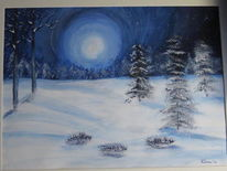 Winterlandschaft, Acrylmalerei, Winter, Malerei