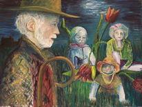 Nachtwache, Kinder, Hirte, Tulpen