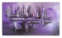Abstrakte malerei, Wandbild, Acrylmalerei, Violett
