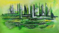 Malerei, Grün, Gemälde, Grau
