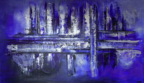 Blau, Gemälde, Silber, Abstrakt