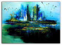 Acrylmalerei, Abstrakt, Blau, Grün