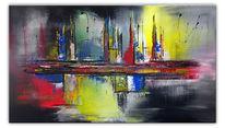 Bunt, Grau, Gelb, Acrylmalerei
