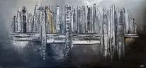 Skyline, Abstrakte malerei, Malen, Acrylmalerei