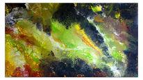 Abstrakte kunst, Malerei, Acrylbild handgemalt, Pouring