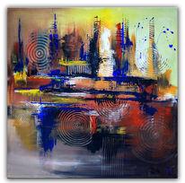 Acrylmalerei, Blau, Abstrakt, Braun