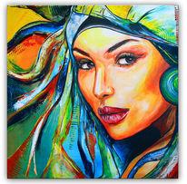 Acrylmalerei, Gelb, Gold, Frau