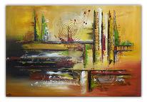 Acrylmalerei, Gelb grün rot, Malen, Wandbild