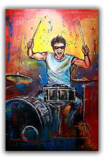 Rot, Trommler, Acrylmalerei, Abstrakt