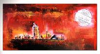 Acrylmalerei, Abstrakte malerei, Gemälde, Stadt