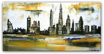 Stadt, Malerei, Skyline, Gemälde