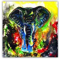 Bunt, Elefant, Malen, Acrylmalerei