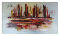 Abstrakt, Feuer, Malerei, Gemälde