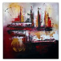 Rot schwarz, Acrylmalerei, Skyline, Abstrakt