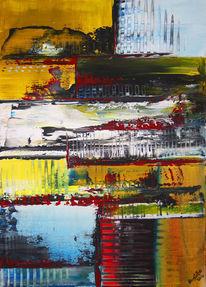 Bunt, Acrylmalerei, Gelb, Gemälde