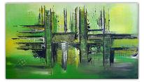 Wandbild, Acrylmalerei, Grün, Gemälde