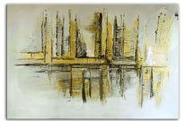 Gold, Dekoration, Abstrakt, Acrylmalerei