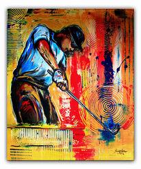 Golf malerei, Wandbilder, Golfspiel, Abschlag