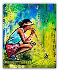 Golfer malerei, Golf abschlag bild, Acrylmalerei, Moderne malerei