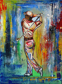 Sport malerei, Sport gemälde, Golfspiel, Acrylmalerei