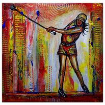 Acrylmalerei, Golfspielerin, Rot gelb weiß, Modern
