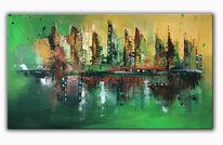 Abstrakte kunst, Acrylmalerei, Skyline, Grün