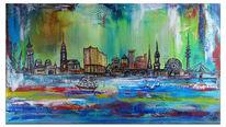 Wandbild, Acrylmalerei, Hamburg, Stadt malerei