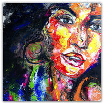 Acrylmalerei, Gemälde, Abstrakte malerei, Gesicht