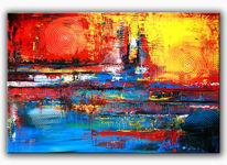 Moderne kunst, Abstrakte malerei, Gemälde, Rot
