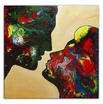 Liebespaar, Gemälde, Kuss, Bunt