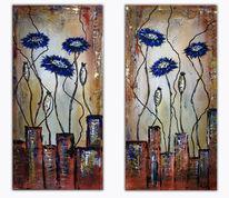 Modern, Malerei, Struktur, Blumen