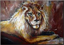 Löwengemälde, Tiermalerei, Acrylmalerei, Löwe malerei