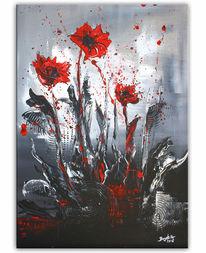 Blumen, Gemälde, Moderne malerei, Rot schwarz