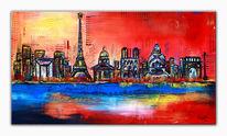 Paris, Gemälde, Wandbild, Skyline
