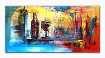 Querformat, Stilleben abstrakt, Acrylmalerei, Abstrakte malerei