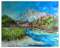 Festung100x80x2cm, Gemälde, Salzach, Abstrakt gemalt
