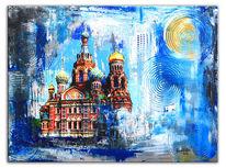 Petersburg, Sinken, Stadt, Malerei