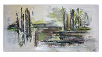 Abstraktes acrylgemälde, Malen, Sturm, Grau grün