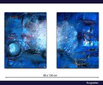 Abstrakt, Zweiteilig, Acrylmalerei, Weltall