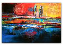 Symbiosebunt, Gemälde, Blau, Kreis