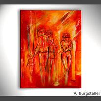 Rot, Liebe, Gemälde, Abstrakt