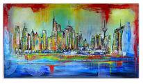Acrylmalerei, Kunst bild, 80x140, Malerei