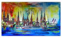 Abstrakt, Stadt malerei, Modern, Malerei