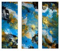 Acrylmalerei, Blau, Weiß, Modern gemalt
