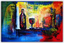Moderne malerei, Stillleben, Wein, Auftrag